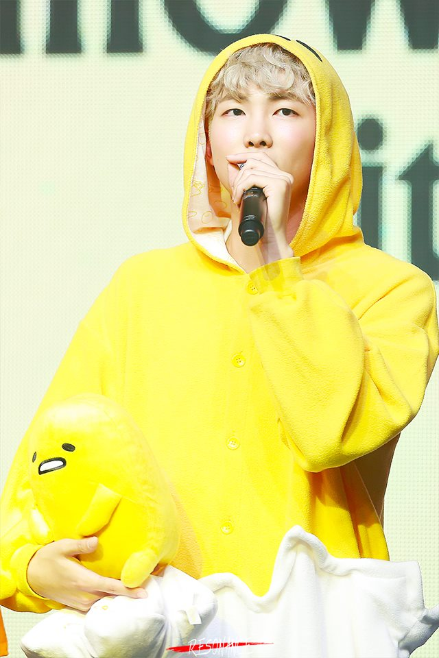 Tags: K-Pop, BTS, Rap Monster, Cosplay, Hood, Yellow Outfit, Hood Up, Stuffed Toy, Black Eyes, Toy