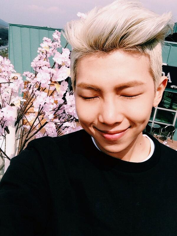 Tags: K-Pop, BTS, Rap Monster, Mole, Eyes Closed, Flower, Pink Flower, Facial Mark, Selca