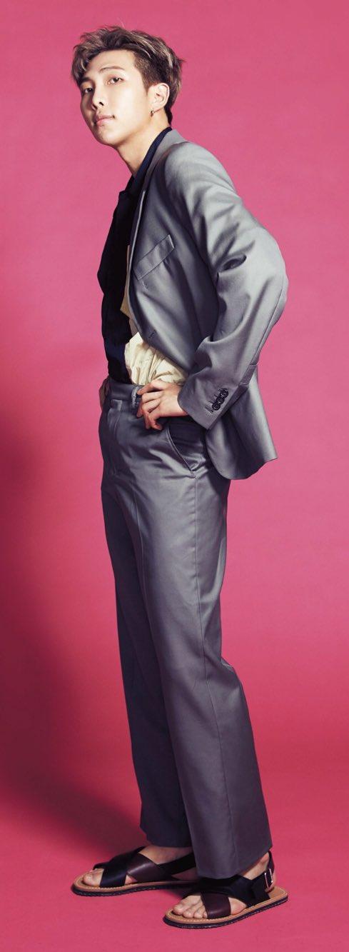 Tags: K-Pop, Bangtan Boys, Rap Monster, Full Body, Pink Background, Magazine Scan, Anan Magazine