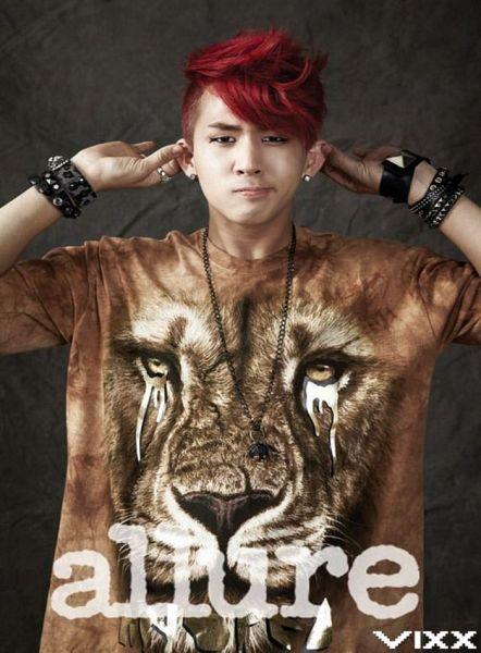 Tags: K-Pop, VIXX, Ravi, Gray Background, Necklace, Red Hair, Text: Magazine Name, Bracelet, Brown Shirt, Animal, Ring, Text: Artist Name