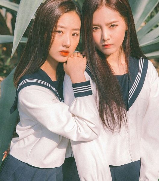 Tags: K-Pop, Real Girls Project, Cha Jiseul, Lee Jeewon, Black Eyes, Uniform, Duo, Collar (Clothes), Bent Knees, Palm Tree, Red Lips, Sitting