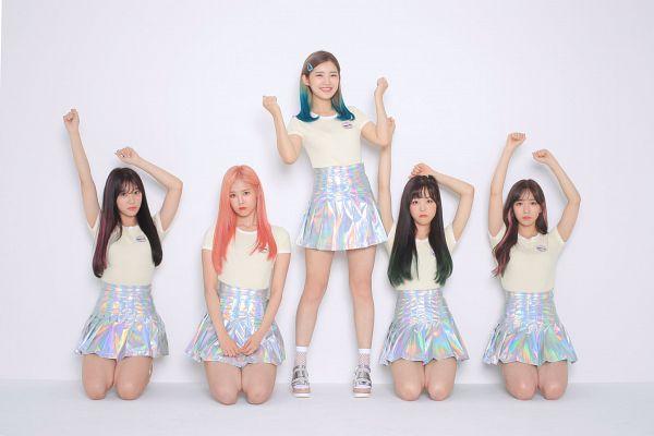 Tags: K-Pop, Real Girls Project, Teramoto Yukika, Kim Sori, Lee Jeewon, Lee Suji, Lee Yeeun, Grin, Blue Skirt, Quintet, Group, Single Bun