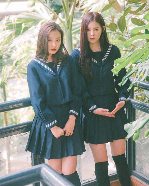 Tags: K-Drama, K-Pop, Real Girls Project, Lee Jeewon, Cha Jiseul, Red Lips, Fence, Black Legwear, Tree, Sailor Collar, Skirt, Two Girls