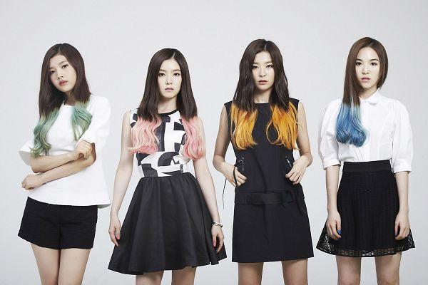 Tags: K-Pop, Red Velvet, Happiness (Song), Wendy, Kang Seul-gi, Irene, Joy, Black Shorts, Skirt, Blue Hair, Black Dress, Crossed Arms