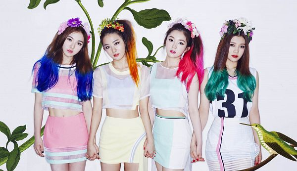 Tags: SM Town, K-Pop, Red Velvet, Happiness (Song), Joy, Wendy, Kang Seul-gi, Irene, Flower Crown, Multi-colored Hair, Skirt, Pink Shirt