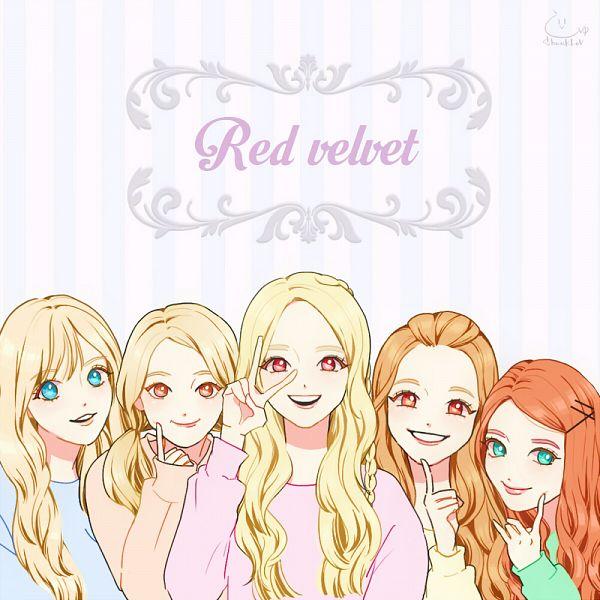 Tags: K-Pop, Red Velvet, Ice Cream Cake (Song), Irene, Yeri, Joy, Wendy, Kang Seul-gi, Yellow Shirt, Striped Background, White Background, Blue Eyes