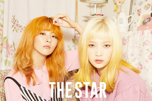 Tags: SM Town, K-Pop, Red Velvet, Joy, Kang Seul-gi, Text: Magazine Name, Pink Outfit, Red Hair, The Star