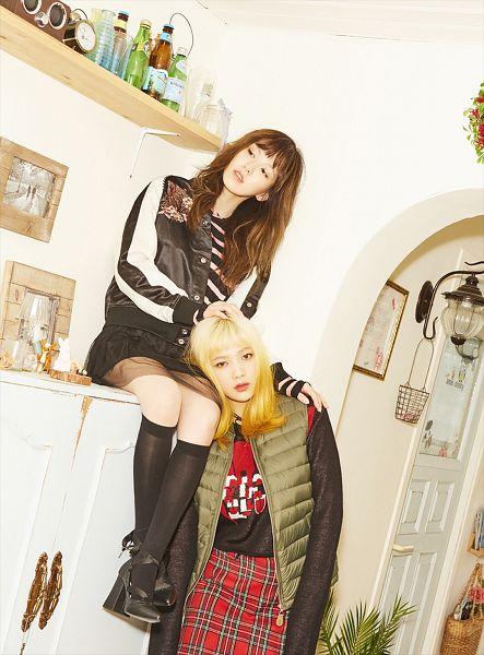 Tags: SM Town, K-Pop, Red Velvet, Joy, Wendy, Skirt, Black Footwear, Checkered, Two Girls, Duo, Thigh Highs, High Heels