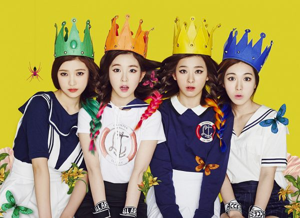 Tags: SM Town, Red Velvet, Happiness (Song), Wendy, Kang Seul-gi, Irene, Joy, Collar (Clothes), Yellow Headwear, Multi-colored Hair, Full Group, Skirt