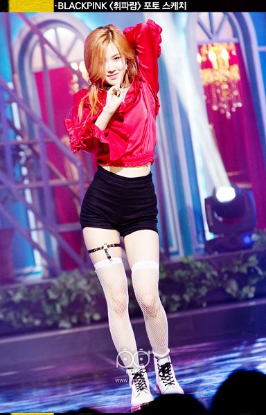 Tags: YG Entertainment, Television Show, Black Pink, Rosé (singer), Black Shorts, Thigh Highs, Text: Artist Name, Looking Ahead, Red Hair, Korean Text, Boots, Red Shirt