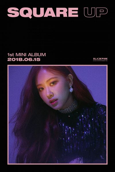 Tags: K-Pop, Black Pink, Rosé (singer), Text: Artist Name, English Text, Text: Company Name, Text: Album Name, Text: Calendar Date, Choker, Make Up, Contact Lenses, SQUARE UP