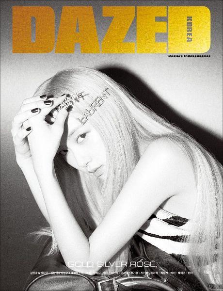 Tags: K-Pop, Black Pink, Rosé (singer), Monochrome, Nail Polish, Gray Hair, Make Up, Text: Brand Name, Black Eyes, Text: Magazine Name, Hand On Head, Magazine Scan