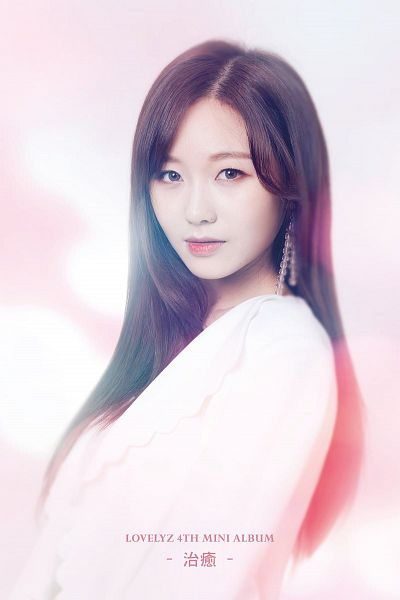 Tags: K-Pop, Lovelyz, Ryu Sujeong, White Outfit, Text: Artist Name, English Text, Text: Album Name, Light Background, Chinese Text, White Dress, Healing