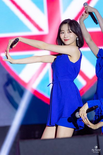 Tags: K-Pop, Lovelyz, Ryu Sujeong, Medium Hair, Blue Dress, Sleeveless, Flag, Blue Outfit, Bare Shoulders, Bare Legs, Looking Away, Sleeveless Dress