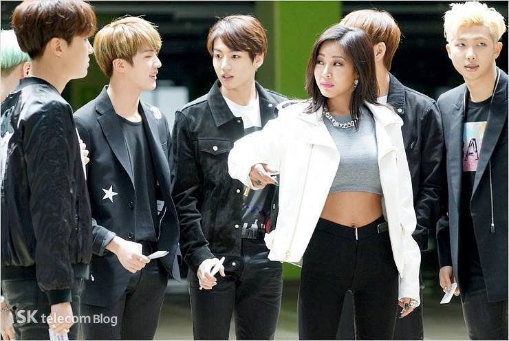 Tags: K-Pop, BTS, Rap Monster, Jessi, Jungkook, J-Hope, Jin, Midriff, Pen, Black Jacket, Navel, Looking At Another