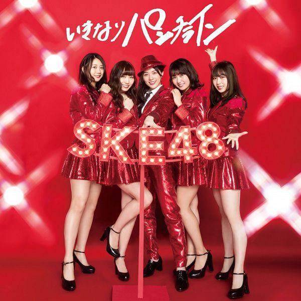 Tags: J-Pop, SKE48, Ikinari Punch Line, Furuhata Nao, Takayanagi Akane, Suda Akari, Souda Sarina, Matsui Jurina, Five Girls, Japanese Text, One Arm Up, Blunt Bangs