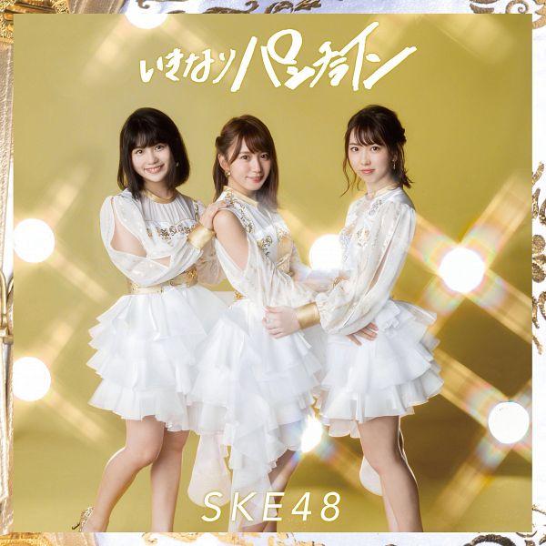 Tags: J-Pop, SKE48, Ikinari Punch Line, Oba Mina, Obata Yuna, Hand On Shoulder, English Text, Hand On Hip, Blunt Bangs, Japanese Text, Belt, Gold Background