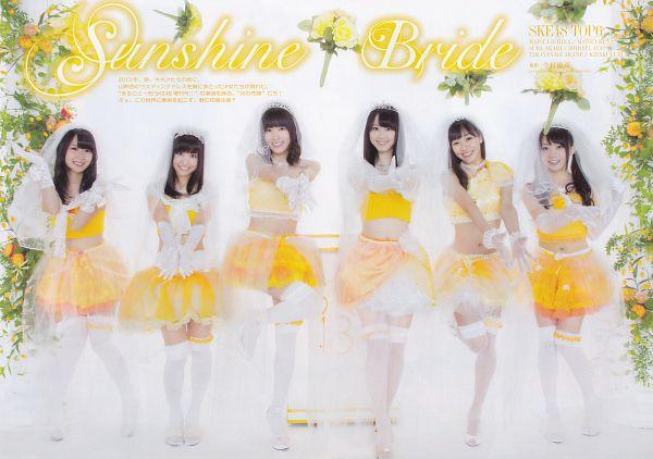 Tags: J-Pop, SKE48, Kizaki Yuria, Suda Akari, Shibata Aya, Matsui Rena, Matsui Jurina, Takayanagi Akane, Skirt, Bare Shoulders, Necklace, Japanese Text