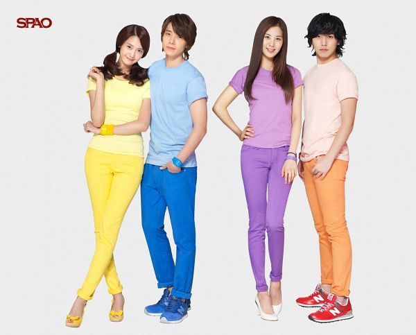 Tags: SM Town, K-Pop, Super Junior, Girls' Generation, Seohyun, Im Yoona, Lee Donghae, Lee Sungmin, Yellow Shirt, Crossed Legs (Standing), Bracelet, Light Background