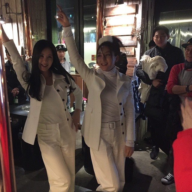 Tags: SM Town, K-Pop, Girls' Generation, S.E.S, Seohyun, Bada, Duo, Outdoors, Looking Away, Eyes Half Closed, Arms Up, White Outerwear