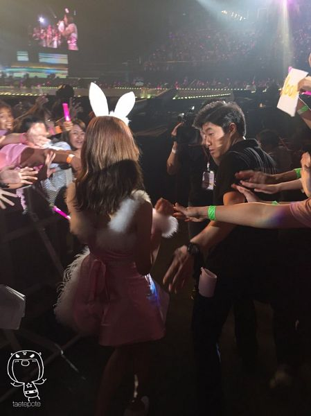 Tags: K-Pop, Girls' Generation, Im Yoona, Pink Outfit, White Headwear, Walking, Animal Ears, Back, Pink Dress, SNSD Phantasia Concert