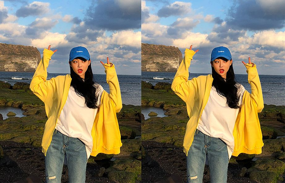 Tags: Fashion, Sae-eun, Hat, Yellow Outerwear, Looking Away, Outdoors, Blue Pants, V Gesture, Red Lips, Collage, Ripped Pants, Hood