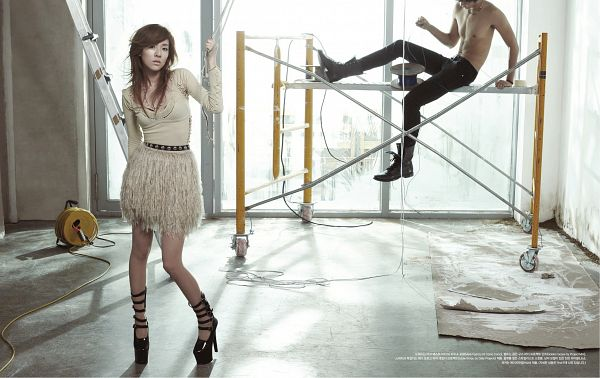 Tags: K-Pop, 2NE1, Sandara Park, High Heels, White Outfit, White Dress, Black Footwear, Black Pants, Light Background, Shirtless (Male), Window, White Background