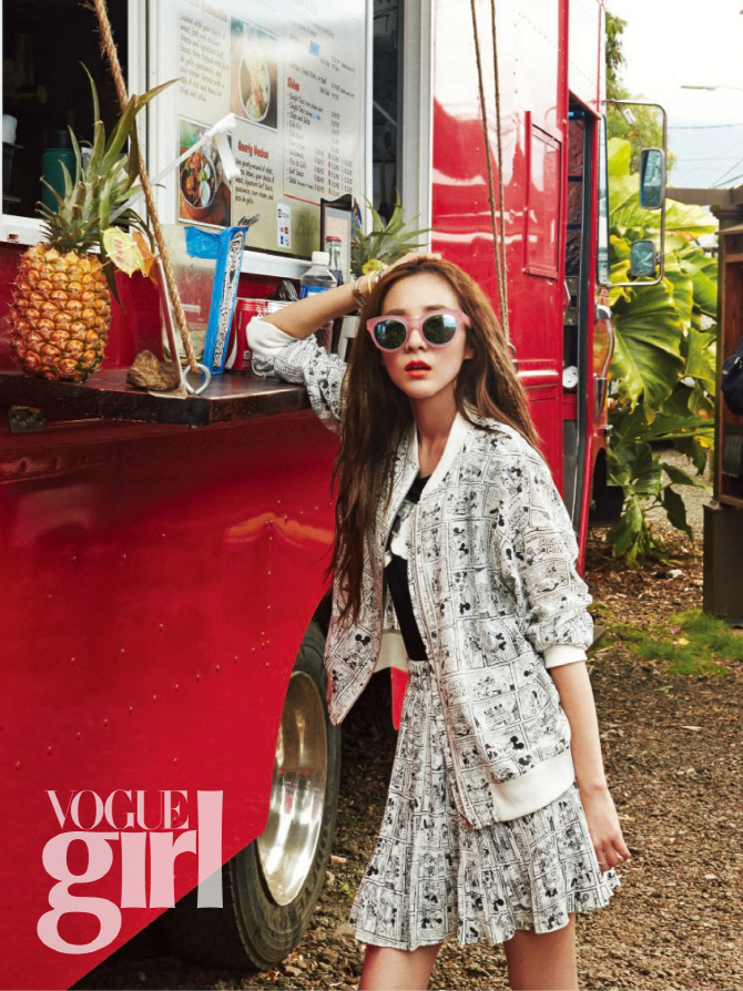 Tags: 2NE1, Sandara Park, Glasses, White Jacket, Sunglasses, White Skirt, White Outfit, Hand In Hair, Text: Magazine Name, Magazine Scan, VOGUE Girl, Scan