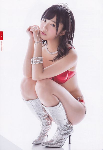 Tags: J-Pop, HKT48, Sashihara Rino, Bare Shoulders, Suggestive, Full Body, Red Outfit, High Heels, Blunt Bangs, Headdress, Bracelet, Hand On Cheek
