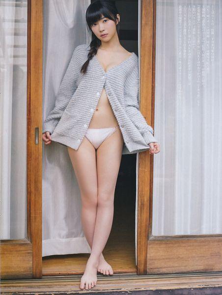 Tags: J-Pop, HKT48, Sashihara Rino, Collarbone, Barefoot, Door, Panties, Topless (Female), Window, Crossed Legs (Standing), Lingerie, Braids