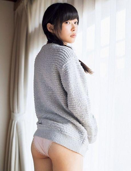 Tags: J-Pop, HKT48, Sashihara Rino, Panties, Gray Shirt, Light Background, Lingerie, Back, White Background, Suggestive, Sweater, Looking Away