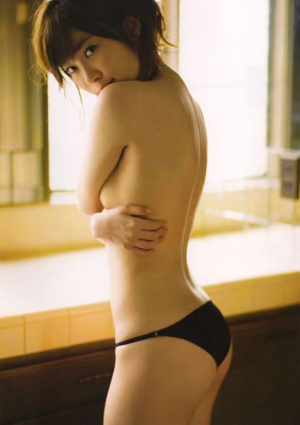 Tags: J-Pop, AKB48, Sashihara Rino, Hair Up, Underwear, Topless (Female), Covering Mouth, Hand On Head, Suggestive, Back, Bare Legs, Bare Back