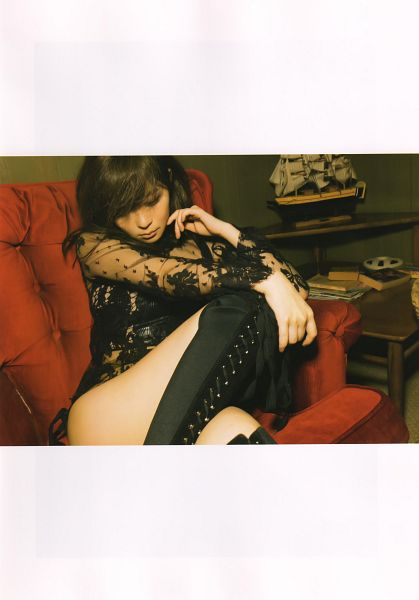 Tags: J-Pop, AKB48, Sashihara Rino, Finger To Cheek, Couch, Boots, Looking Down, Suggestive, Sitting On Couch, Scan, Android/iPhone Wallpaper, Scandal Addiction Photobook