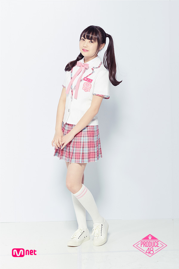 Tags: Television Show, J-Pop, AKB48, Sato Minami, Pink Neckwear, Light Background, Checkered Skirt, Thigh Highs, Pink Skirt, Checkered, White Background, White Footwear