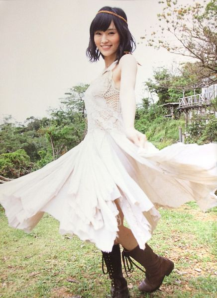 Tags: J-Pop, AKB48, NMB48, Sayaka Yamamoto, Outdoors, Sleeveless, Sleeveless Dress, Shoes, From Below, White Outfit, Brown Footwear, Boots