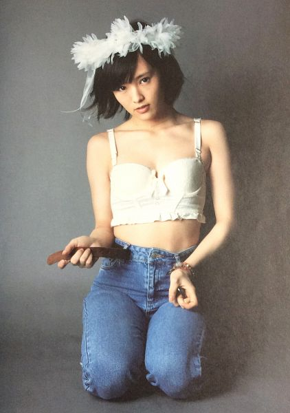 Tags: J-Pop, AKB48, NMB48, Sayaka Yamamoto, Sleeveless Shirt, Sleeveless, White Headwear, Midriff, Kneeling, Denim Dress, Pants, Collarbone