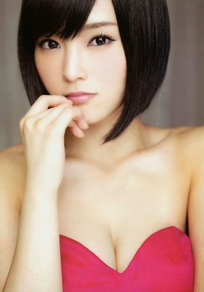 Tags: J-Pop, AKB48, NMB48, Sayaka Yamamoto, Cleavage, Pink Outfit, Finger To Lips, Collarbone, Medium Hair, Suggestive, Sleeveless, Bare Shoulders