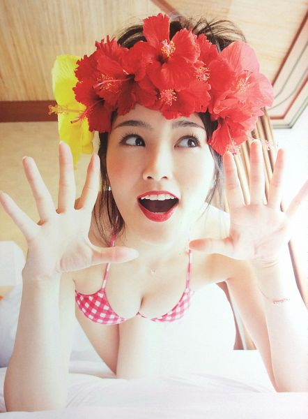 Tags: J-Pop, NMB48, AKB48, Sayaka Yamamoto, Hair Up, On Bed, Bikini, Looking Away, Bare Shoulders, Red Lips, Hair Flower, Bare Legs