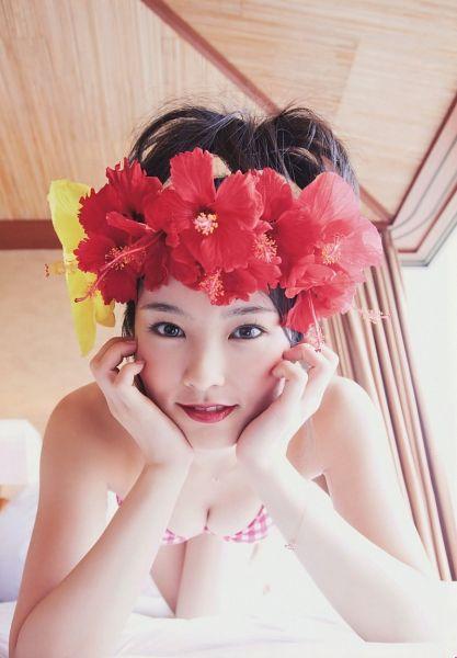 Tags: J-Pop, NMB48, Sayaka Yamamoto, Hair Up, Bare Shoulders, Bikini, Top-down Bottom-up, Hand On Cheek, Bare Legs, Suggestive, Red Lips, Red Headwear