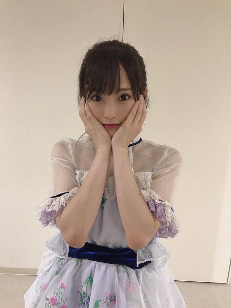 Tags: J-Pop, NMB48, Sayaka Yamamoto, White Dress, Floral Dress, Hair Up, Belt, Hand On Head, Hand On Cheek, Light Background, White Background, Floral Print