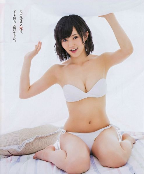 Tags: NMB48, Sayaka Yamamoto, Lingerie, White Outfit, Bra, Cleavage, Pillow, Suggestive, Navel, Panties