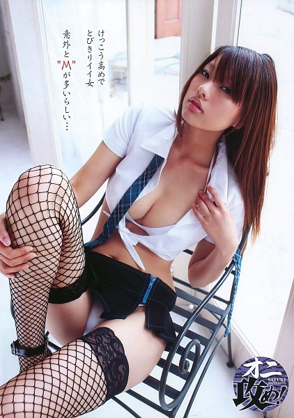 Tags: Sayuki Matsumoto, Sitting On Chair, Suggestive, Thigh Highs, Tie, Cleavage, Skirt, Fishnets, Chair, Android/iPhone Wallpaper
