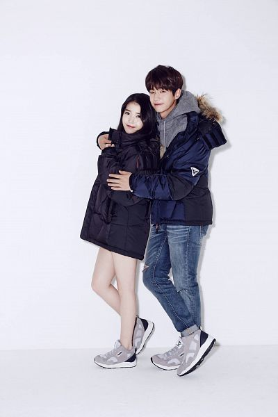 Tags: K-Pop, K-Drama, Song Jae-rim, IU, White Background, Shoes, Sneakers, Hug, Holding Close, Hood, No Background, Jeans