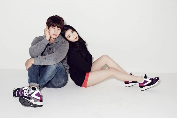 Tags: K-Pop, K-Drama, IU, Song Jae-rim, Sneakers, Jeans, Light Background, No Background, Duo, White Background, Shoes, Shorts
