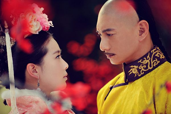 Tags: C-Drama, Nicky Wu, Liu Shishi, Mustache, Pink Flower, Couple, Looking At Another, Partially Bald, Flower, Duo, Traditional Clothes, Chinese Clothes