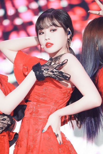 Tags: K-Pop, (G)-I-DLE, Seo Soojin, Ring, Red Lips, Looking Away, Make Up, Hand On Hip, Nail Polish, Red Dress, Necklace, Red Outfit