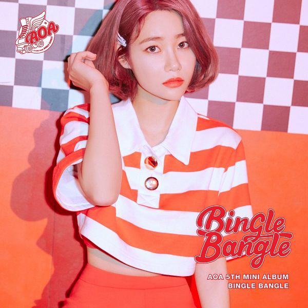 Tags: K-Pop, AOA (Ace Of Angels), Seo Yuna, Medium Hair, Striped, Checkered, Striped Shirt, Text: Artist Name, Orange Shirt, Hair Ornament, Midriff, Text: Album Name