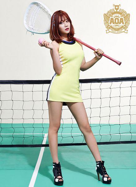 Tags: K-Pop, AOA (Ace Of Angels), Heart Attack (AOA), Seo Yuna, White Background, Ball, Yellow Outfit, Medium Hair, Bare Legs, Yellow Dress, Sleeveless, Sleeveless Dress
