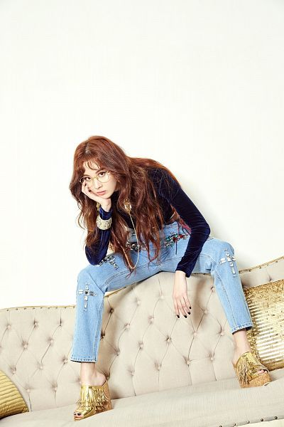 Tags: SM Town, K-Pop, Girls' Generation, Don't Say No, Seohyun, Chair, Hand On Cheek, Gold Footwear, Light Background, Shoes, Hand On Head, White Background