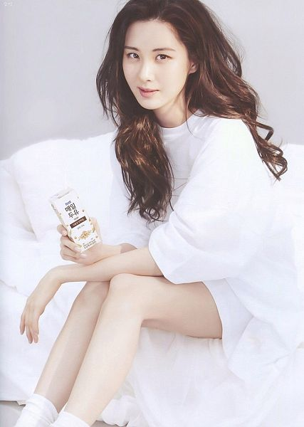 Tags: SM Town, K-Pop, Girls' Generation, Seohyun, White Outfit, Purple Background, On Bed, Bed, Cosmopolitan, Magazine Scan